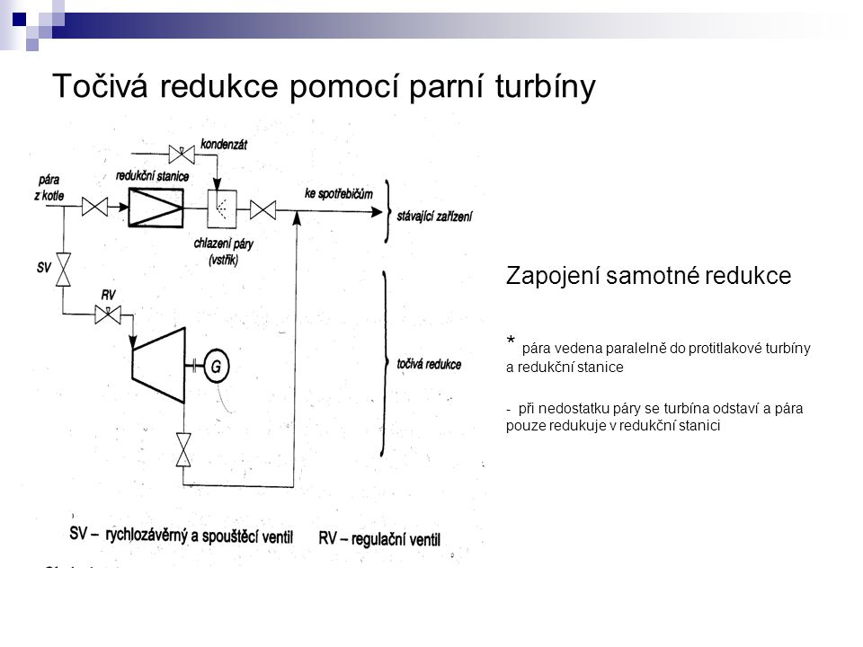 Točivá redukce pomocí parní turbíny Zapojení samotné redukce * pára vedena paralelně do protitlakové turbíny a redukční stanice - při nedostatku páry se turbína odstaví a pára pouze redukuje v redukční stanici