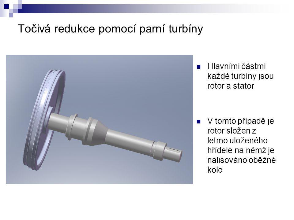 Točivá redukce pomocí parní turbíny Hlavními částmi každé turbíny jsou rotor a stator V tomto případě je rotor složen z letmo uloženého hřídele na němž je nalisováno oběžné kolo