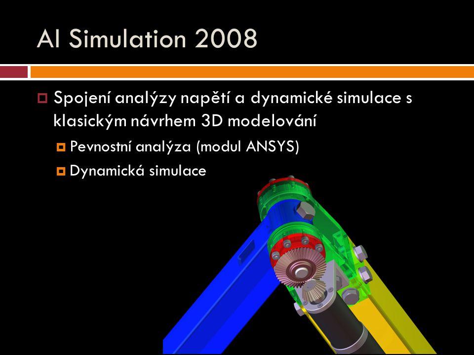 AI Simulation 2008  Spojení analýzy napětí a dynamické simulace s klasickým návrhem 3D modelování  Pevnostní analýza (modul ANSYS)  Dynamická simulace