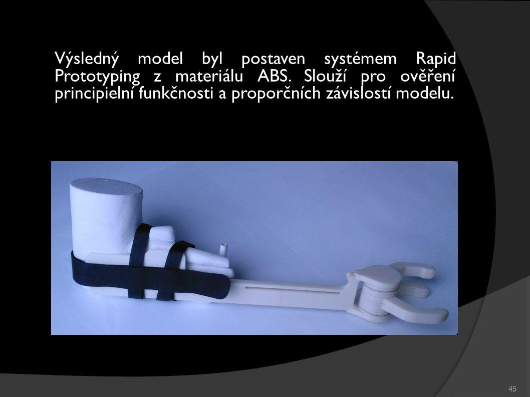 45 Výsledný model byl postaven systémem Rapid Prototyping z materiálu ABS.
