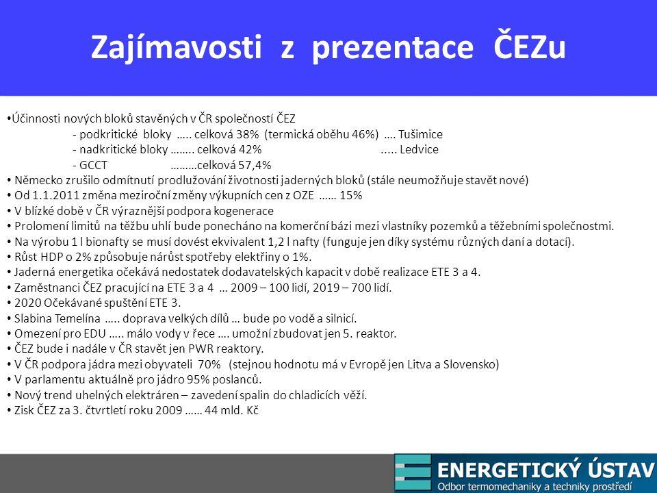 Zajímavosti z prezentace ČEZu Účinnosti nových bloků stavěných v ČR společností ČEZ - podkritické bloky …..