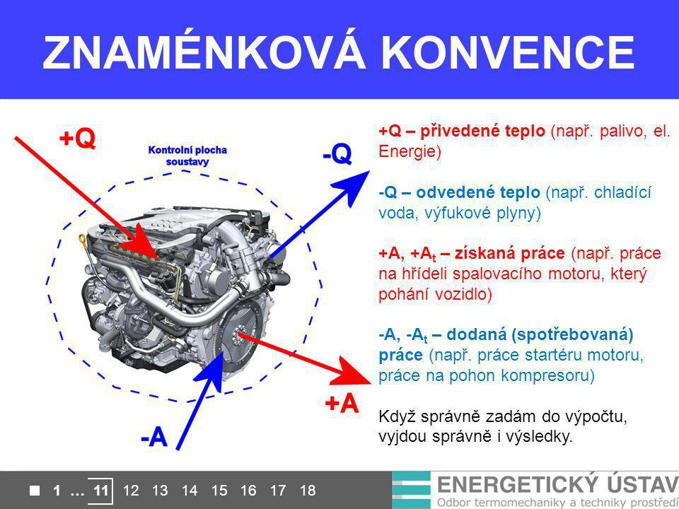 ZNAMÉNKOVÁ KONVENCE +Q – přivedené teplo (např. palivo, el. Energie) -Q – odvedené teplo (např. chladící voda, výfukové plyny) +A, +A t – získaná prác