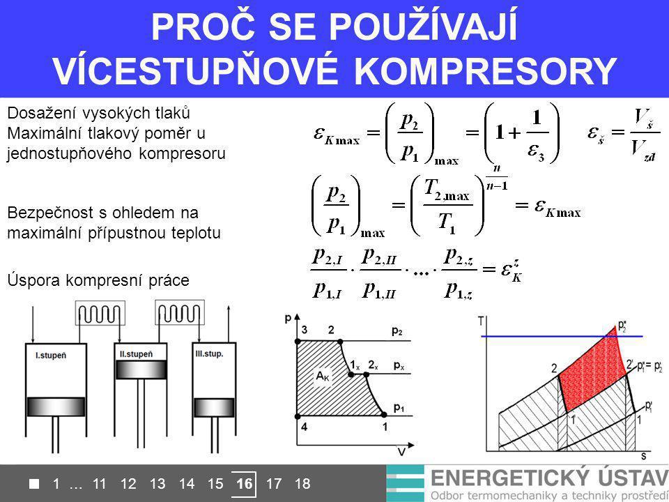 PROČ SE POUŽÍVAJÍ VÍCESTUPŇOVÉ KOMPRESORY Dosažení vysokých tlaků Maximální tlakový poměr u jednostupňového kompresoru Bezpečnost s ohledem na maximál