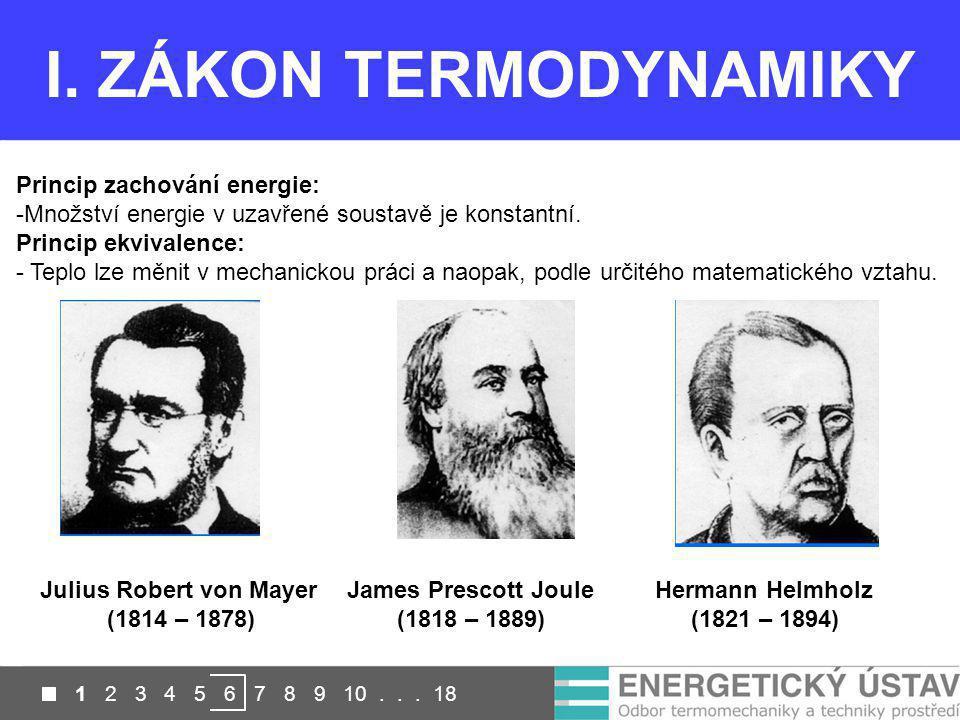 Přesnost u laboratorních měření je až 0,2 K I. ZÁKON TERMODYNAMIKY Princip zachování energie: -Množství energie v uzavřené soustavě je konstantní. Pri