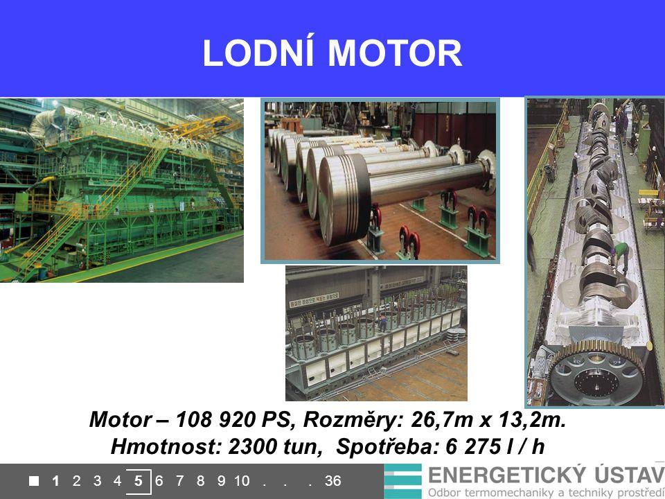 LODNÍ MOTOR Motor – 108 920 PS, Rozměry: 26,7m x 13,2m.
