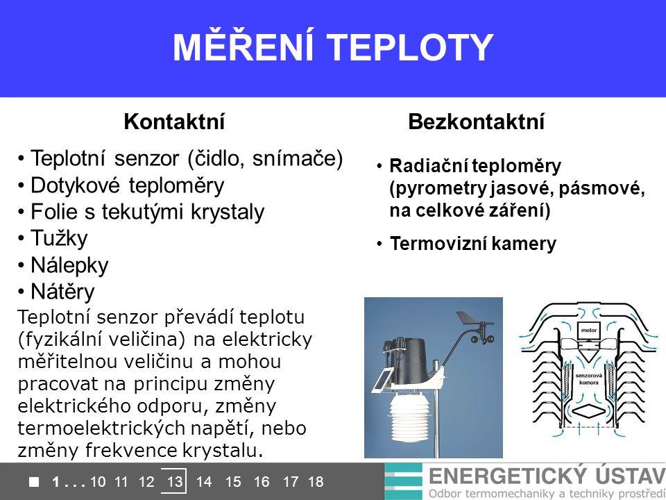MĚŘENÍ TEPLOTY KontaktníBezkontaktní Radiační teploměry (pyrometry jasové, pásmové, na celkové záření) Termovizní kamery Teplotní senzor (čidlo, snímače) Dotykové teploměry Folie s tekutými krystaly Tužky Nálepky Nátěry Teplotní senzor převádí teplotu (fyzikální veličina) na elektricky měřitelnou veličinu a mohou pracovat na principu změny elektrického odporu, změny termoelektrických napětí, nebo změny frekvence krystalu.
