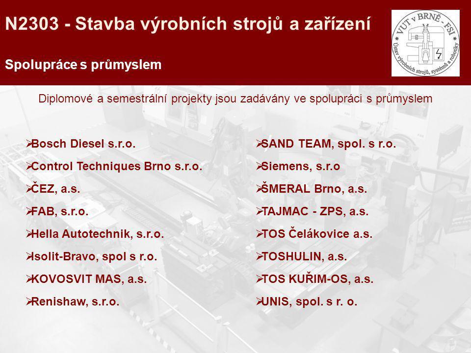 Spolupráce s průmyslem Diplomové a semestrální projekty jsou zadávány ve spolupráci s průmyslem  Bosch Diesel s.r.o.  Control Techniques Brno s.r.o.