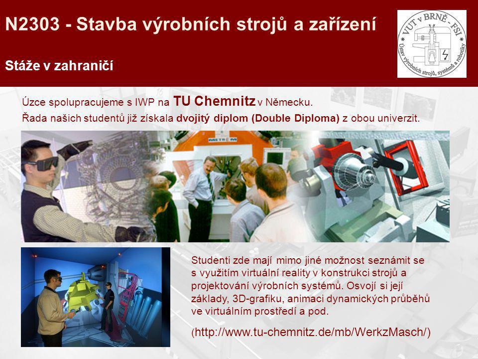 Stáže v zahraničí Úzce spolupracujeme s IWP na TU Chemnitz v Německu. Řada našich studentů již získala dvojitý diplom (Double Diploma) z obou univerzi