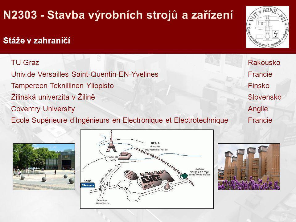 Stáže v zahraničí TU GrazRakousko Univ.de Versailles Saint-Quentin-EN-YvelinesFrancie Tampereen Teknillinen YliopistoFinsko Žilinská univerzita v Žili