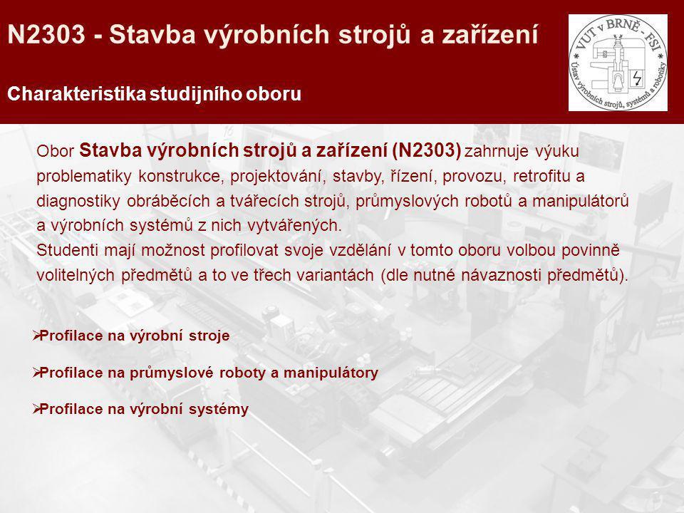N2303 - Stavba výrobních strojů a zařízení Charakteristika studijního oboru Obor Stavba výrobních strojů a zařízení (N2303) zahrnuje výuku problematik