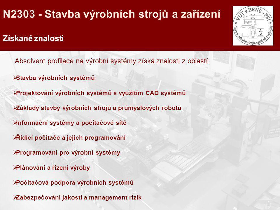 N2303 - Stavba výrobních strojů a zařízení Získané znalosti Absolvent profilace na výrobní systémy získá znalosti z oblastí:  Stavba výrobních systém