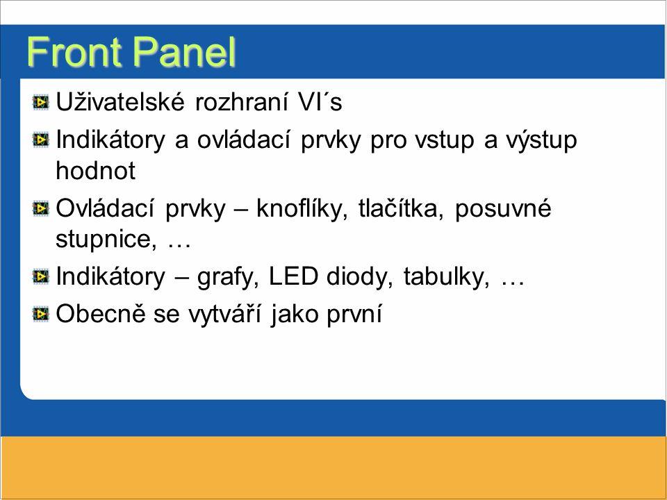 Front Panel Uživatelské rozhraní VI´s Indikátory a ovládací prvky pro vstup a výstup hodnot Ovládací prvky – knoflíky, tlačítka, posuvné stupnice, … I