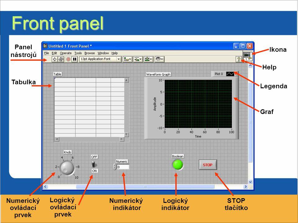 Front panel Panel nástrojů Logický ovládací prvek GrafLegenda Logický indikátor STOP tlačítko Tabulka Ikona Numerický indikátor Numerický ovládací prv