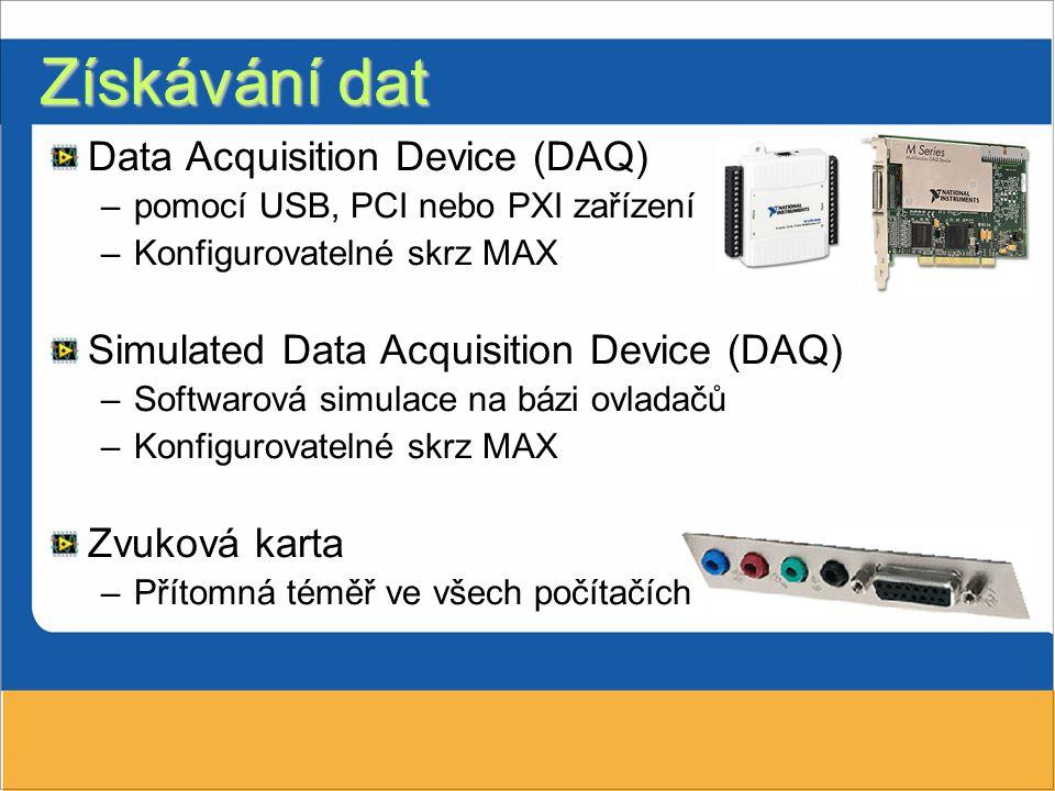 Data Acquisition Device (DAQ) –pomocí USB, PCI nebo PXI zařízení –Konfigurovatelné skrz MAX Simulated Data Acquisition Device (DAQ) –Softwarová simula
