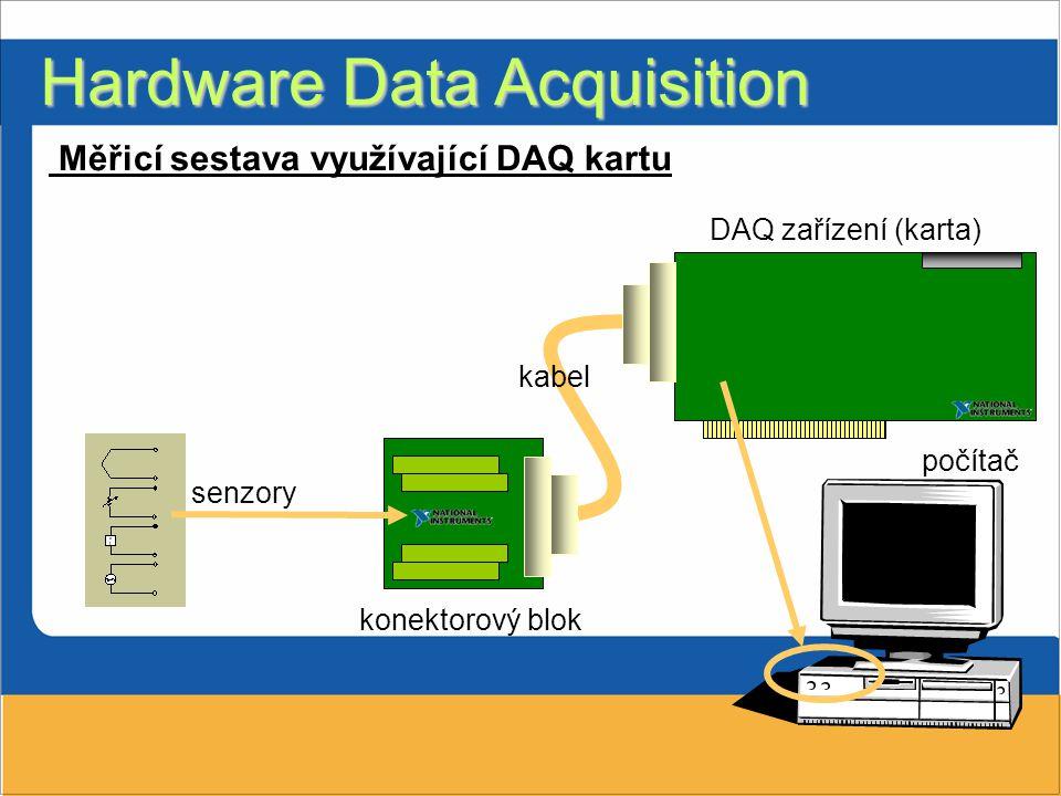 Hardware Data Acquisition DAQ zařízení (karta) počítač senzory konektorový blok kabel Měřicí sestava využívající DAQ kartu