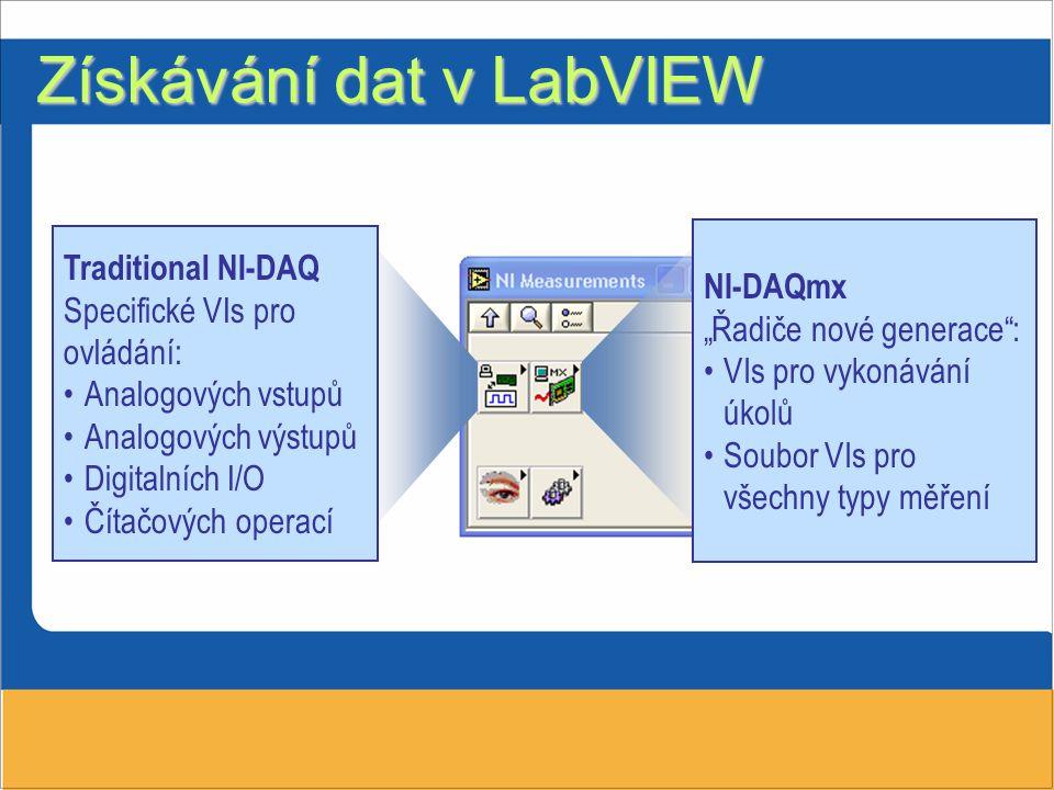 Získávání dat v LabVIEW Traditional NI-DAQ Specifické VIs pro ovládání: Analogových vstupů Analogových výstupů Digitalních I/O Čítačových operací NI-D
