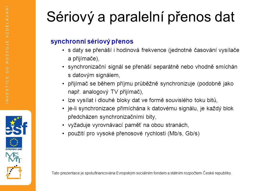 Sériový a paralelní přenos dat synchronní sériový přenos s daty se přenáší i hodinová frekvence (jednotné časování vysílače a přijímače), synchronizační signál se přenáší separátně nebo vhodně smíchán s datovým signálem, přijímač se během příjmu průběžně synchronizuje (podobně jako např.