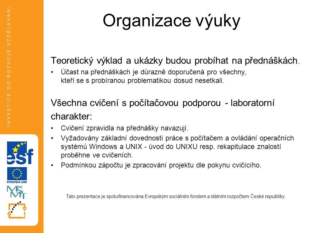 Organizace výuky Teoretický výklad a ukázky budou probíhat na přednáškách.
