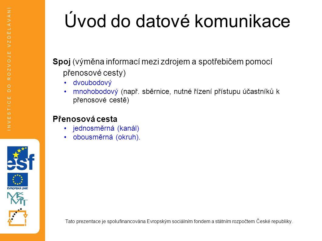Úvod do datové komunikace Spoj (výměna informací mezi zdrojem a spotřebičem pomocí přenosové cesty) dvoubodový mnohobodový (např.