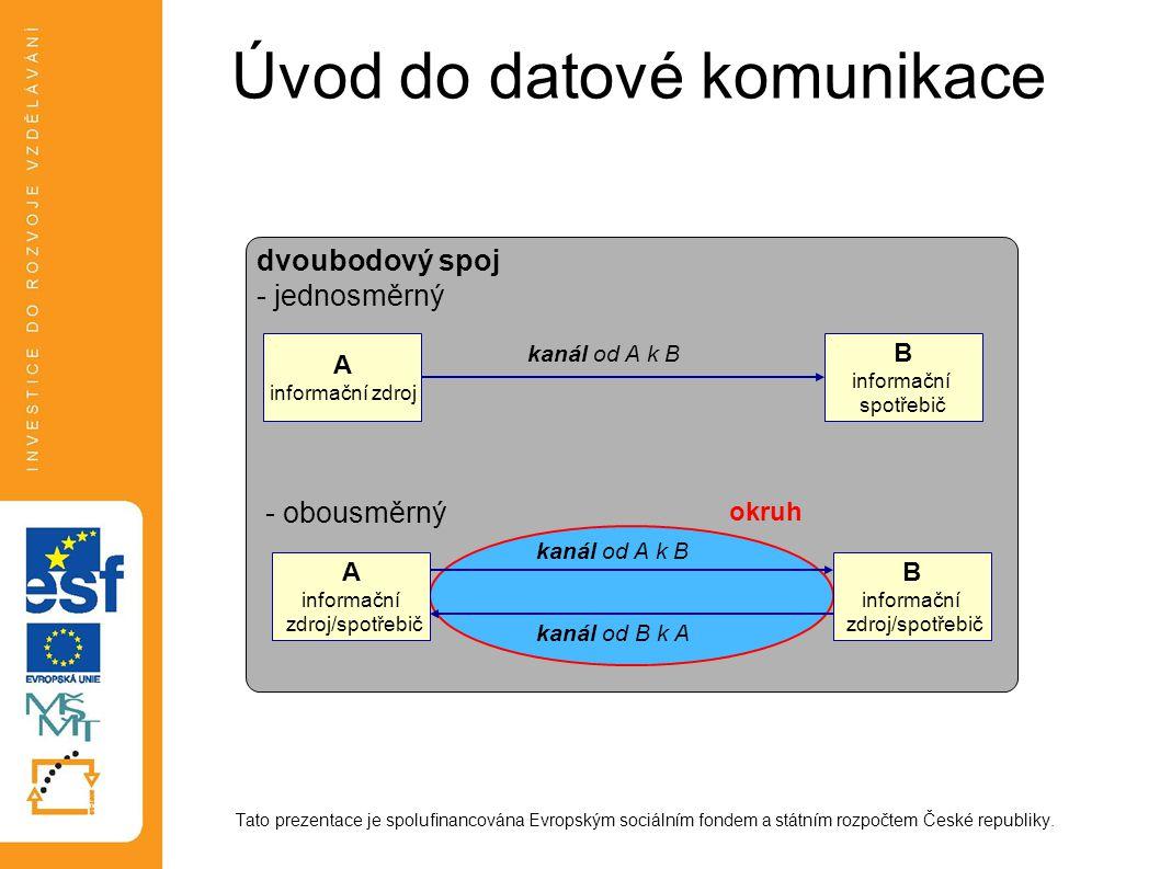 Úvod do datové komunikace Tato prezentace je spolufinancována Evropským sociálním fondem a státním rozpočtem České republiky.