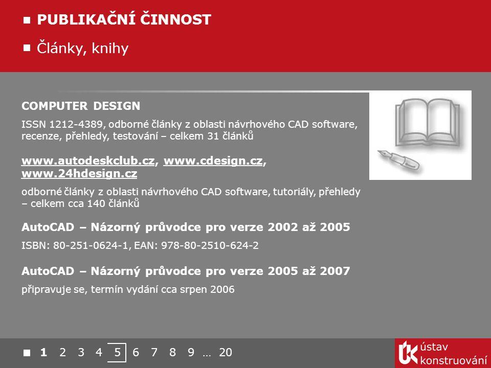 Články, knihy PUBLIKAČNÍ ČINNOST COMPUTER DESIGN ISSN 1212-4389, odborné články z oblasti návrhového CAD software, recenze, přehledy, testování – celk