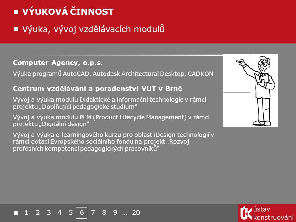 Výuka, vývoj vzdělávacích modulů VÝUKOVÁ ČINNOST Computer Agency, o.p.s. Výuka programů AutoCAD, Autodesk Architectural Desktop, CADKON Centrum vzdělá