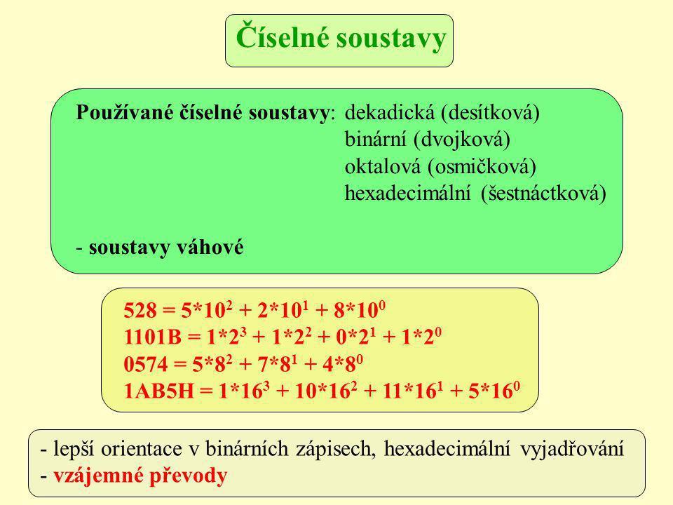Používané číselné soustavy: dekadická (desítková) binární (dvojková) oktalová (osmičková) hexadecimální (šestnáctková) - soustavy váhové 528 = 5*10 2 + 2*10 1 + 8*10 0 1101B = 1*2 3 + 1*2 2 + 0*2 1 + 1*2 0 0574 = 5*8 2 + 7*8 1 + 4*8 0 1AB5H = 1*16 3 + 10*16 2 + 11*16 1 + 5*16 0 - lepší orientace v binárních zápisech, hexadecimální vyjadřování - vzájemné převody Číselné soustavy