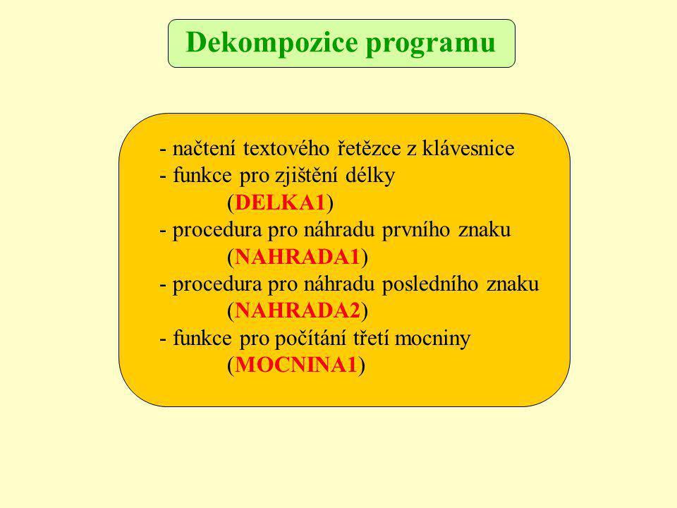 - načtení textového řetězce z klávesnice - funkce pro zjištění délky (DELKA1) - procedura pro náhradu prvního znaku (NAHRADA1) - procedura pro náhradu posledního znaku (NAHRADA2) - funkce pro počítání třetí mocniny (MOCNINA1) Dekompozice programu