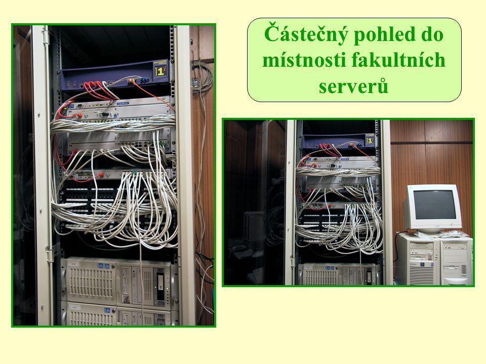 Částečný pohled do místnosti fakultních serverů