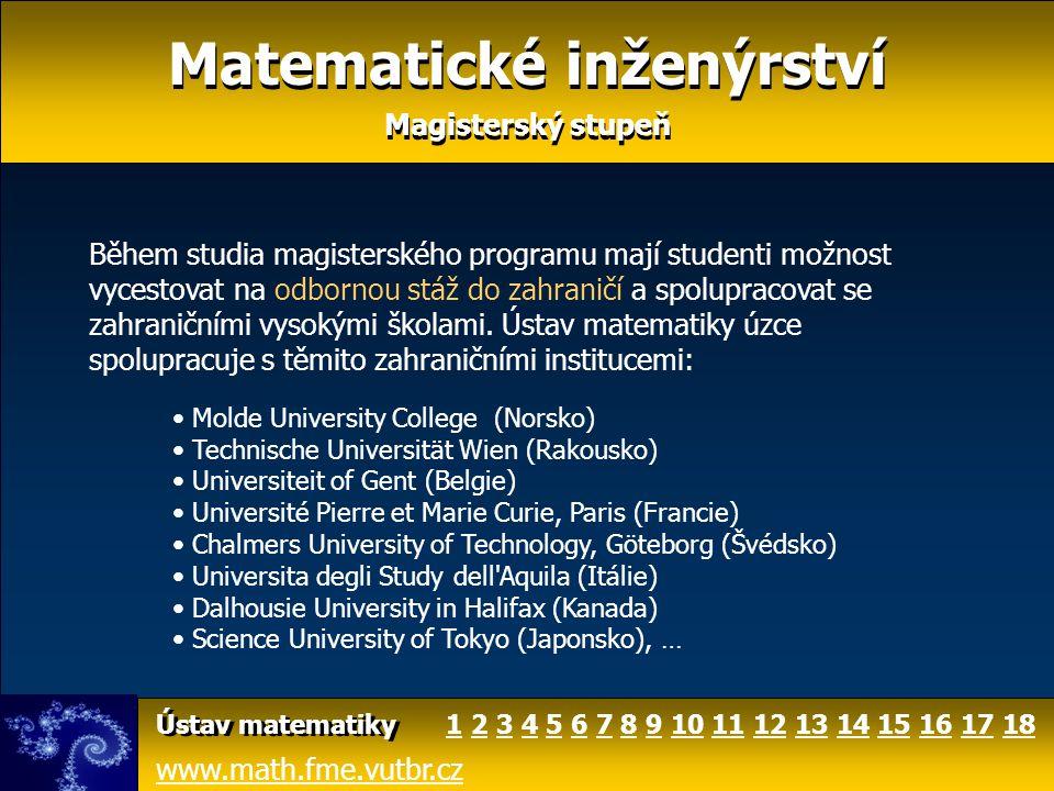 Matematické inženýrství Magisterský stupeň Matematické inženýrství Magisterský stupeň www.math.fme.vutbr.cz Ústav matematiky Během studia magisterskéh
