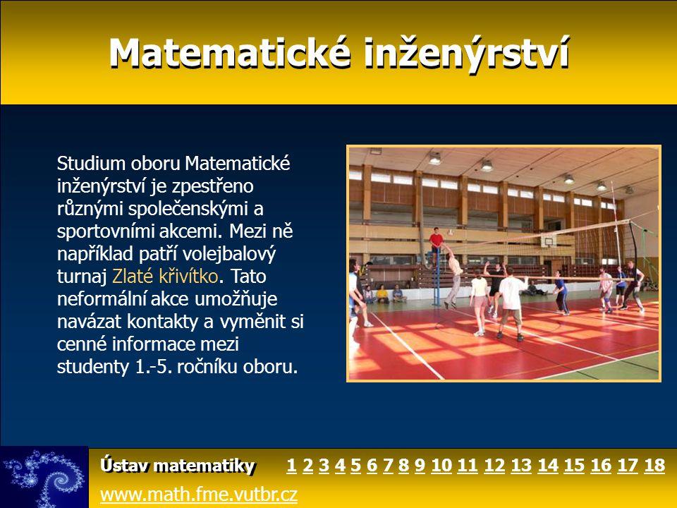 Matematické inženýrství www.math.fme.vutbr.cz Ústav matematiky Studium oboru Matematické inženýrství je zpestřeno různými společenskými a sportovními