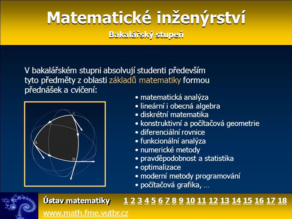 Matematické inženýrství Doktorské studium Matematické inženýrství Doktorské studium Doktorské studium je určeno vynikajícím absolventům magisterského stupně Matematického inženýrství a studentům z jiných vysokých škol, kteří absolvovali některý z oborů zaměřených na aplikace matematiky v technických disciplínách či informatice.