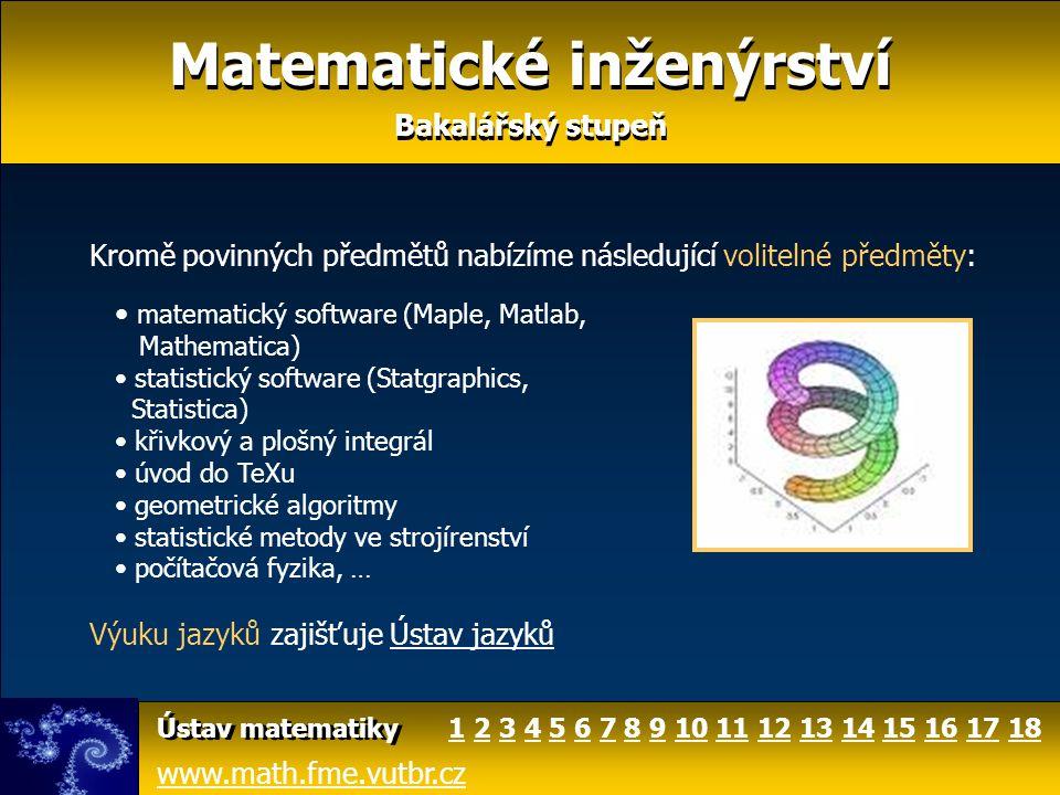 Matematické inženýrství www.math.fme.vutbr.cz Ústav matematiky Máte-li zájem o bližší informace, navštivte webové stránky Ústavu matematiky FSI VUT v Brně www.math.fme.vutbr.cz S případnými dotazy se obracejte na Mgr.
