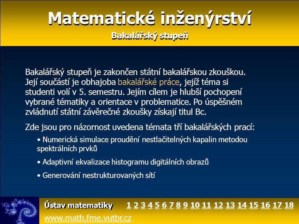 Matematické inženýrství Bakalářský stupeň Matematické inženýrství Bakalářský stupeň Předpokládá se, že většina absolventů bakalářského stupně studia bude pokračovat v magisterském stupni oboru Matematické inženýrství, ale je tu samozřejmě možnost vybrat si specializaci i na jiném ústavu.
