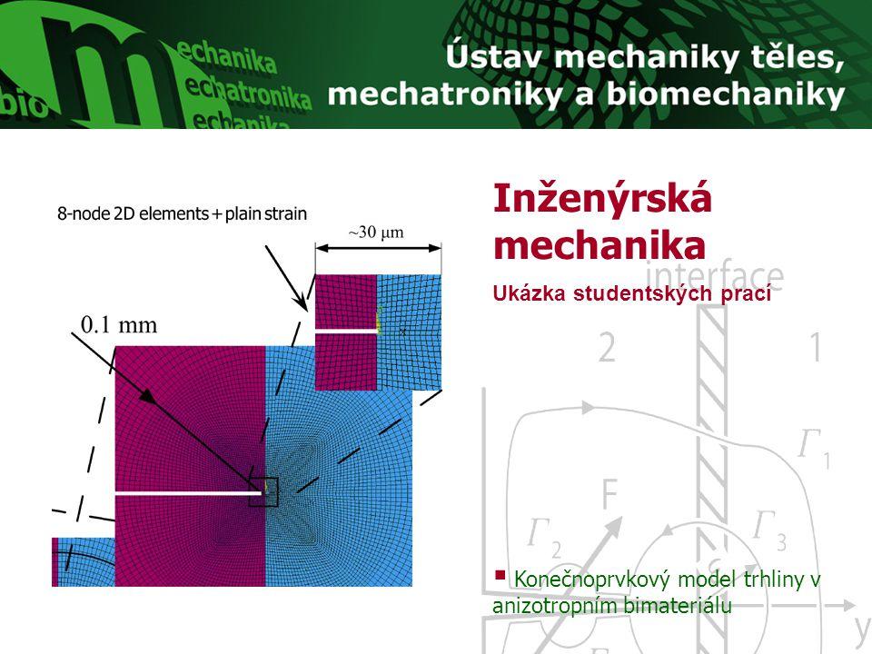 Inženýrská mechanika Ukázka studentských prací  Konečnoprvkový model trhliny v anizotropním bimateriálu