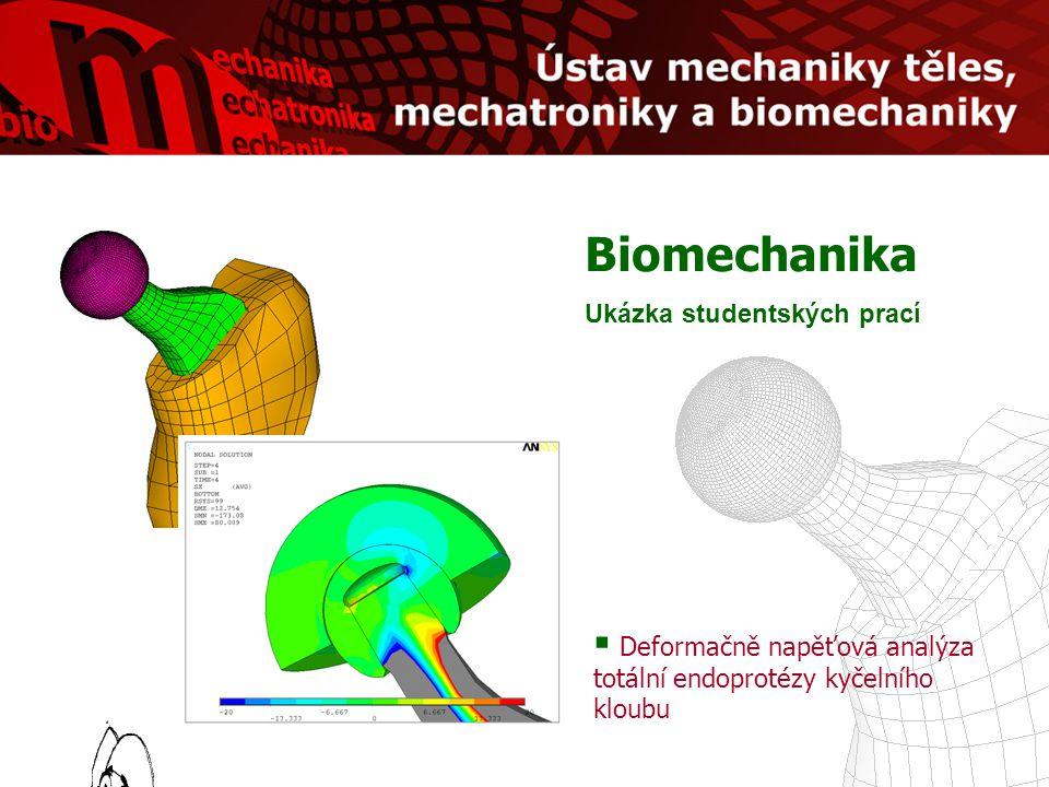 Biomechanika Ukázka studentských prací  Deformačně napěťová analýza totální endoprotézy kyčelního kloubu