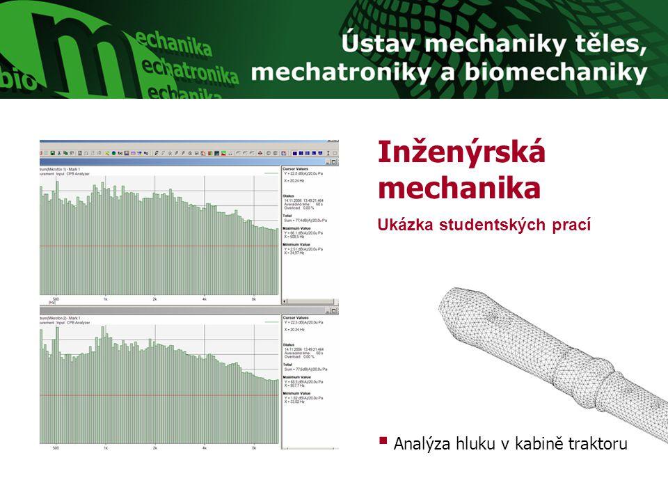 Inženýrská mechanika Ukázka studentských prací  Analýza hluku v kabině traktoru