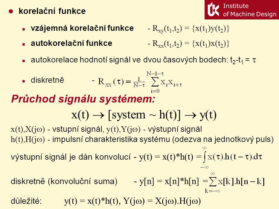 Základní typy signálů harmonický (nevývaha strojů) - x(t) = Acos(ωt+φ) impulsní (Diracova funkce, δ funkce) -  (t) = lim   (t)  0    pro 0  t <     0pro t < 0; t  platí: náhodný (stochastický) Základní statistické charakteristiky: střední hodnota -  = E{x(t)}, diskretně - rozptyl -    E{[x(t)-  ] 2 }, diskretně - činitel výkmitu (crest factor) – CF = x max /  x