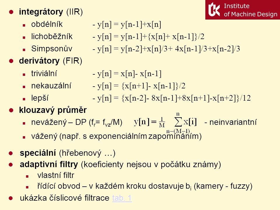 Typy diskrétní filtrů frekvenčně selektivní filtry (FIR, IIR) základní typy podle účelu: HP, DP, PP, PZ základním prvkem je DP, ostatní typy jsou odvo