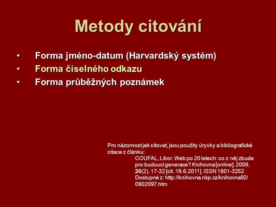 Metody citování Forma jméno-datum (Harvardský systém)Forma jméno-datum (Harvardský systém) Forma číselného odkazuForma číselného odkazu Forma průběžných poznámekForma průběžných poznámek Pro názornost jak citovat, jsou použity úryvky a bibliografické citace z článku: COUFAL, Libor.