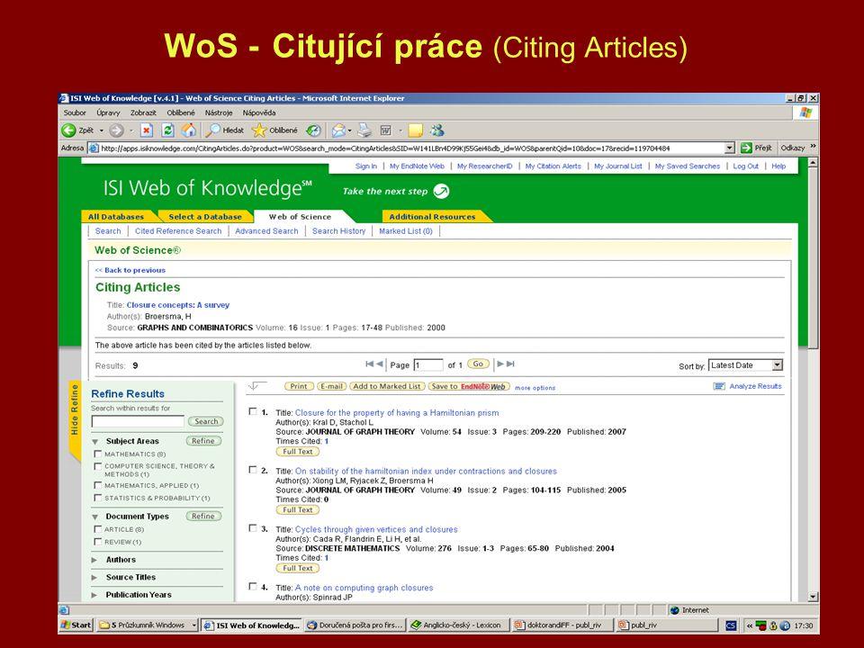 WoS - Citující práce (Citing Articles)