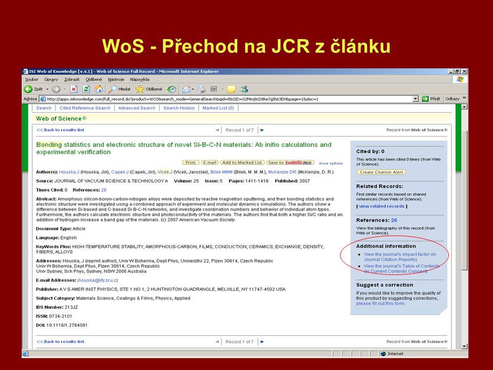 WoS - Přechod na JCR z článku