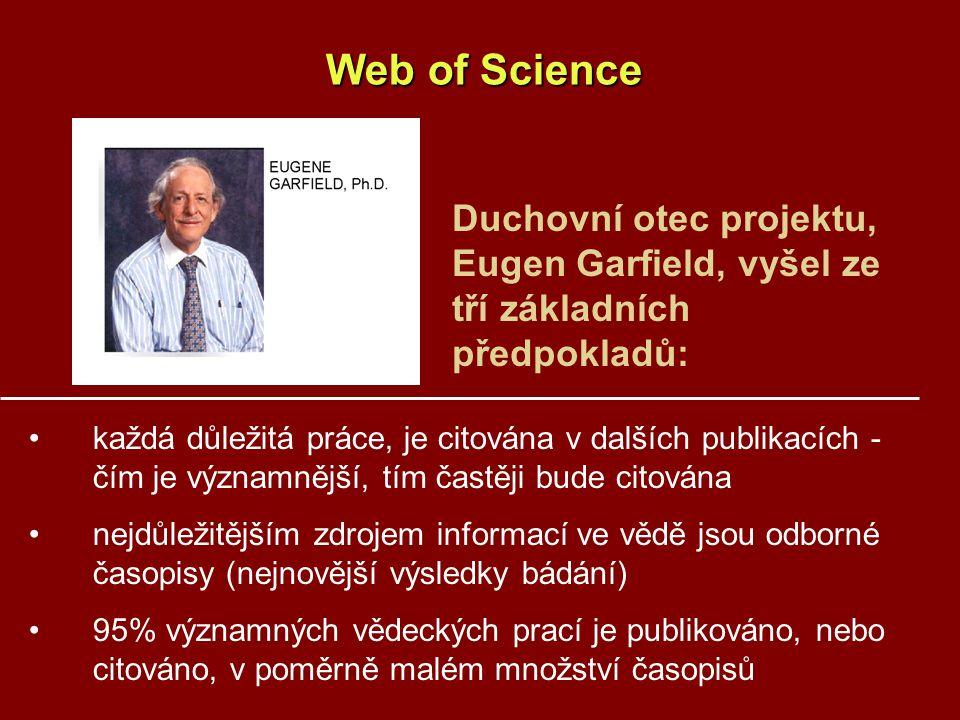 Web of Science každá důležitá práce, je citována v dalších publikacích - čím je významnější, tím častěji bude citována nejdůležitějším zdrojem informací ve vědě jsou odborné časopisy (nejnovější výsledky bádání) 95% významných vědeckých prací je publikováno, nebo citováno, v poměrně malém množství časopisů Duchovní otec projektu, Eugen Garfield, vyšel ze tří základních předpokladů: