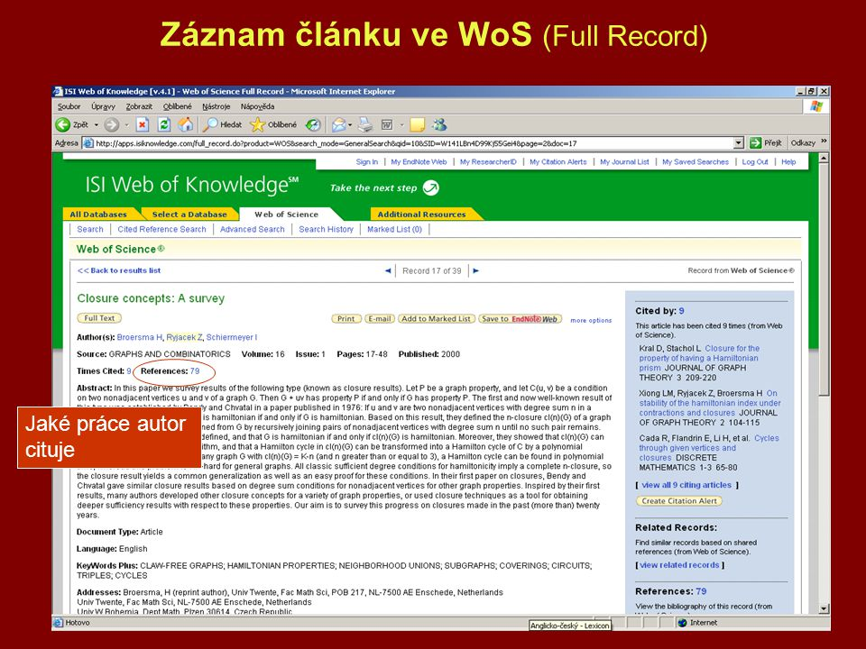 Záznam článku ve WoS (Full Record) Jaké práce autor cituje
