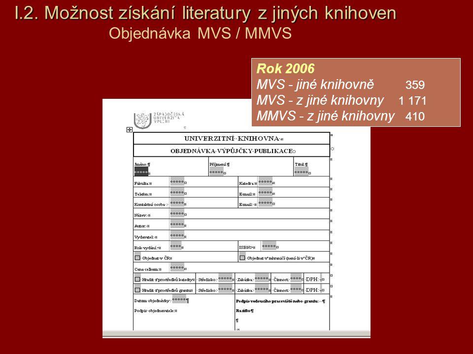 I.2.Možnost získání literatury z jiných knihoven I.2. Možnost získání literatury z jiných knihoven Objednávka MVS / MMVS Rok 2006 MVS - jiné knihovně