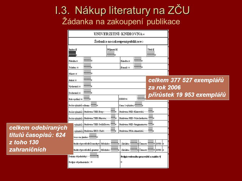 I.3.Nákup literatury na ZČU I.3. Nákup literatury na ZČU Žádanka na zakoupení publikace celkem 377 527 exemplářů za rok 2006 přírůstek 19 953 exemplář