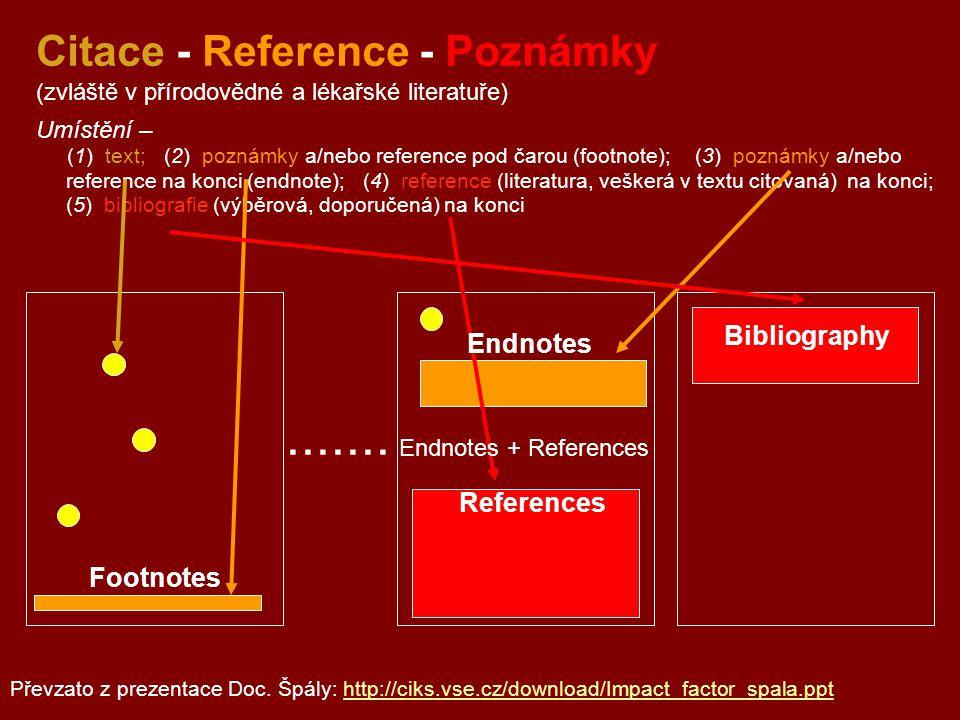 Citace - Reference - Poznámky (zvláště v přírodovědné a lékařské literatuře) Umístění – (1) text; (2) poznámky a/nebo reference pod čarou (footnote);