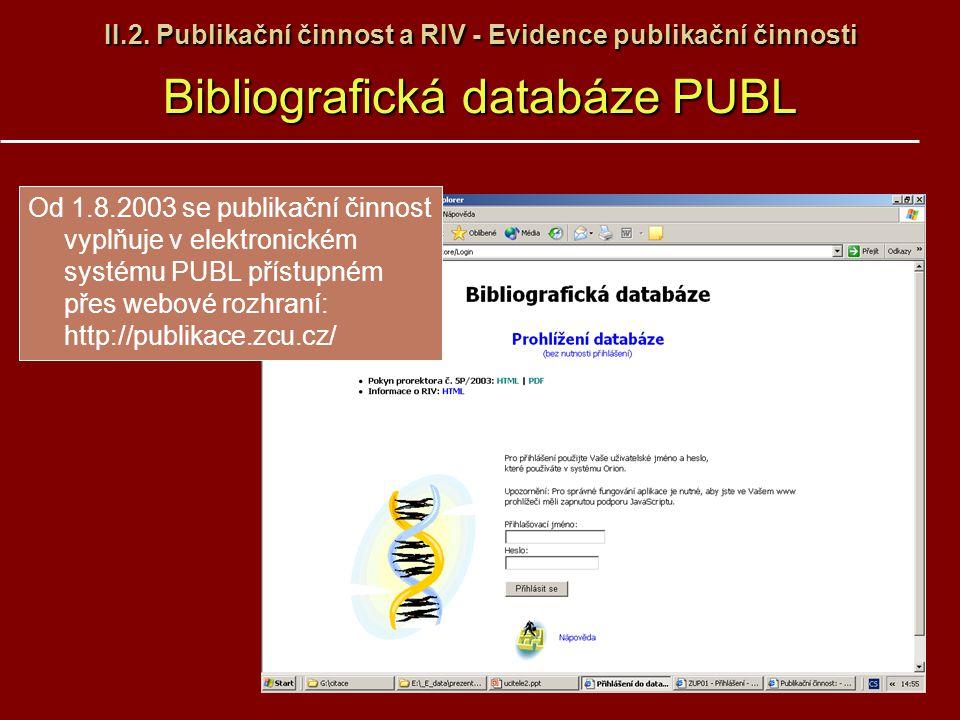 II.2. Publikační činnost a RIV - Evidence publikační činnosti Bibliografická databáze PUBL Od 1.8.2003 se publikační činnost vyplňuje v elektronickém