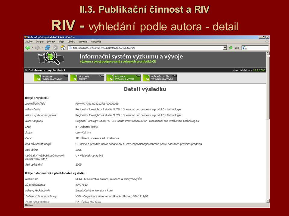 II.3. Publikační činnost a RIV RIV - II.3. Publikační činnost a RIV RIV - vyhledání podle autora - detail