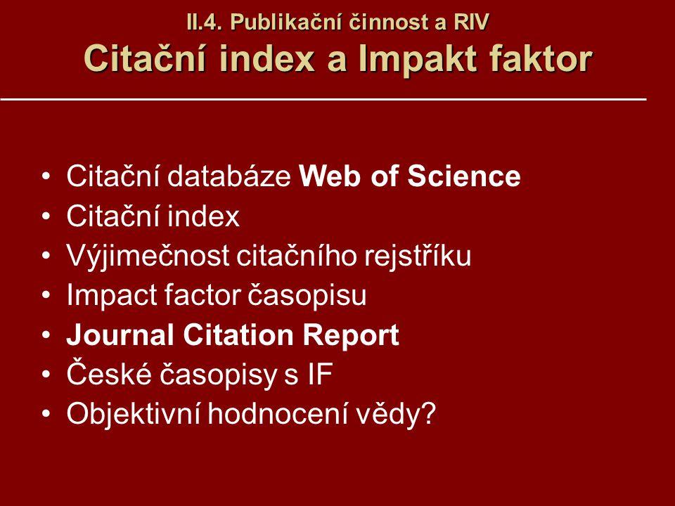 II.4. Publikační činnost a RIV Citační index a Impakt faktor Citační databáze Web of Science Citační index Výjimečnost citačního rejstříku Impact fact